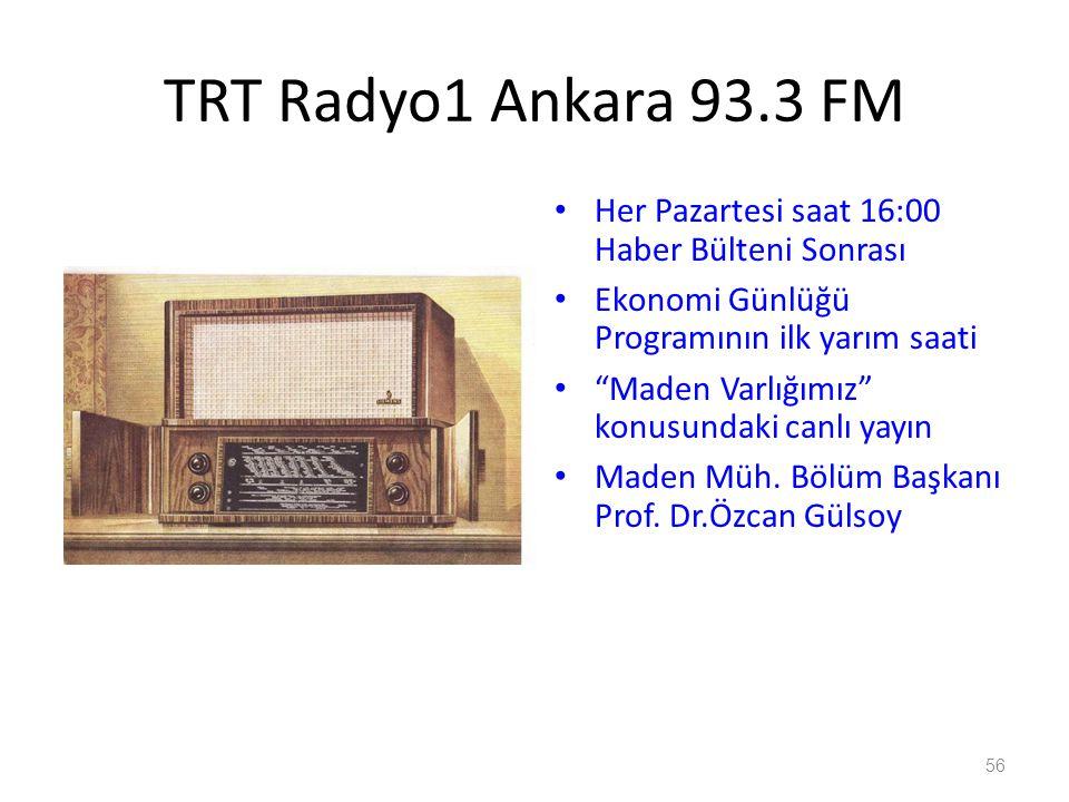 TRT Radyo1 Ankara 93.3 FM Her Pazartesi saat 16:00 Haber Bülteni Sonrası. Ekonomi Günlüğü Programının ilk yarım saati.