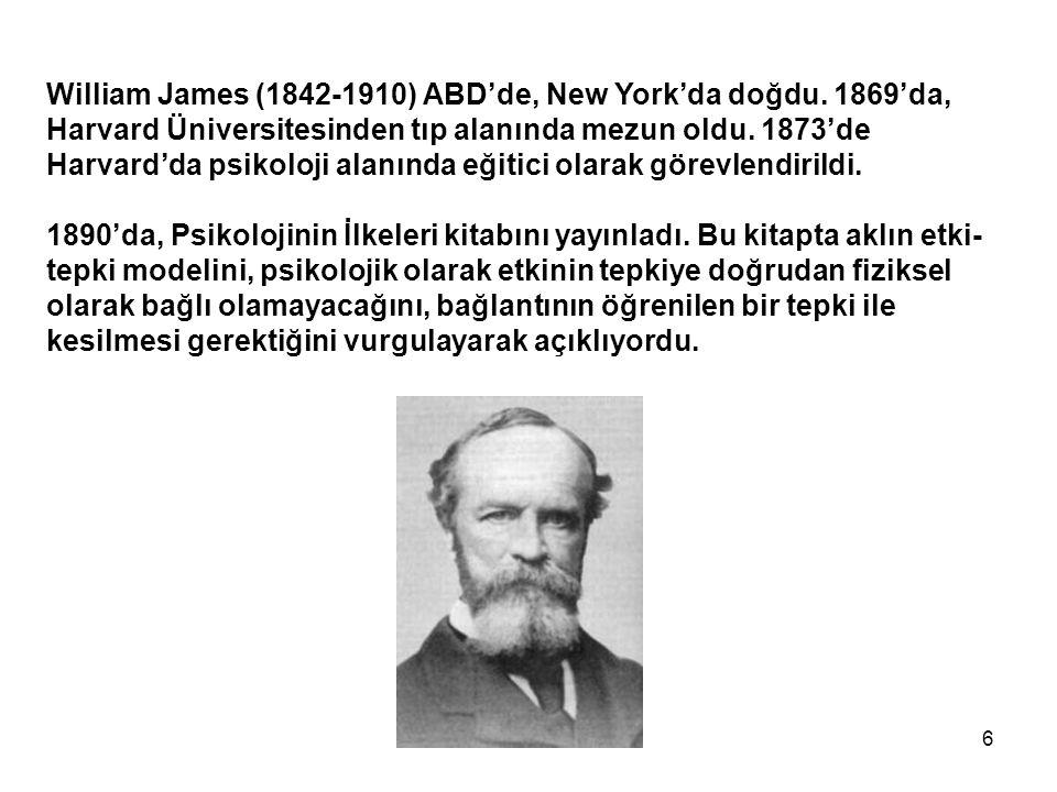 William James (1842-1910) ABD'de, New York'da doğdu