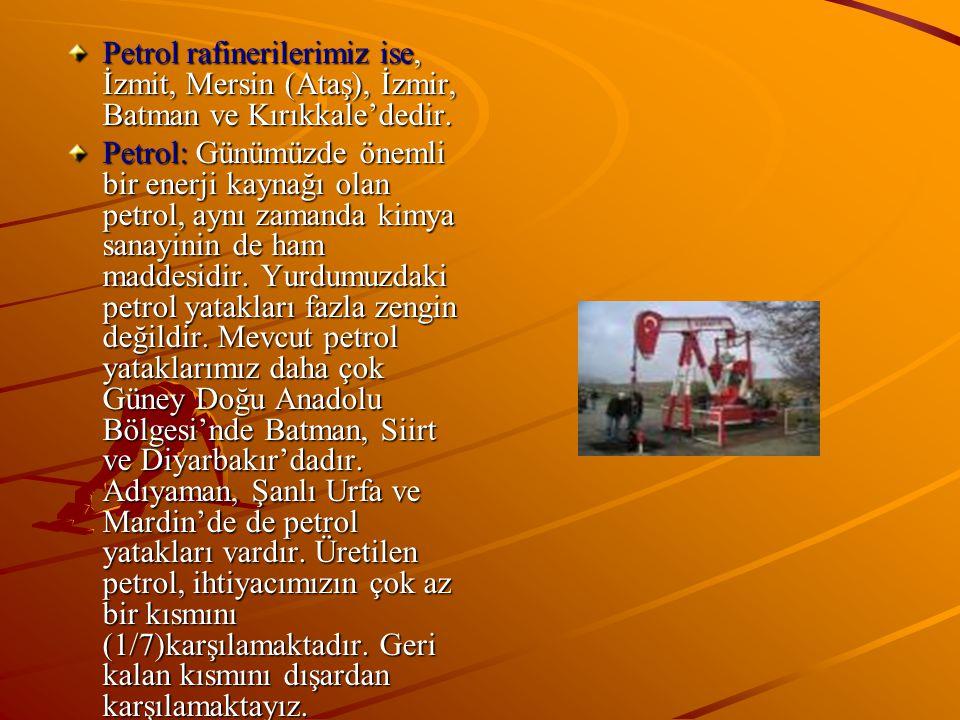 Petrol rafinerilerimiz ise, İzmit, Mersin (Ataş), İzmir, Batman ve Kırıkkale'dedir.