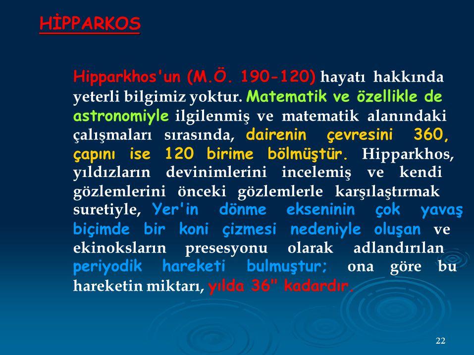HİPPARKOS Hipparkhos un (M.Ö. 190-120) hayatı hakkında