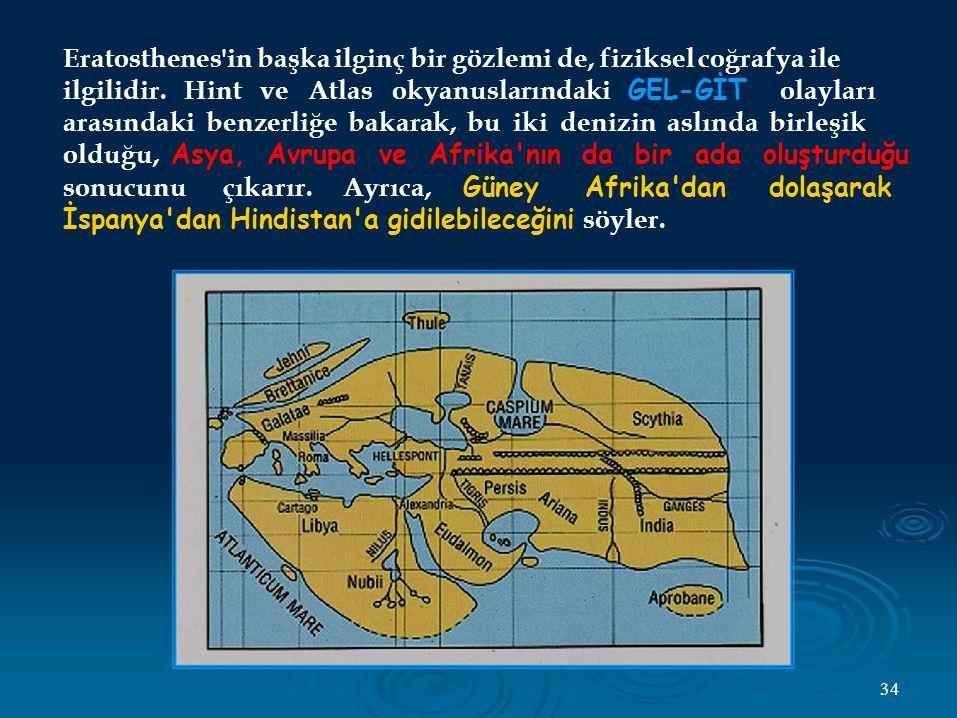 Eratosthenes in başka ilginç bir gözlemi de, fiziksel coğrafya ile