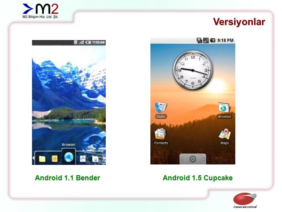 Versiyonlar Android 1.1 Bender Android 1.5 Cupcake