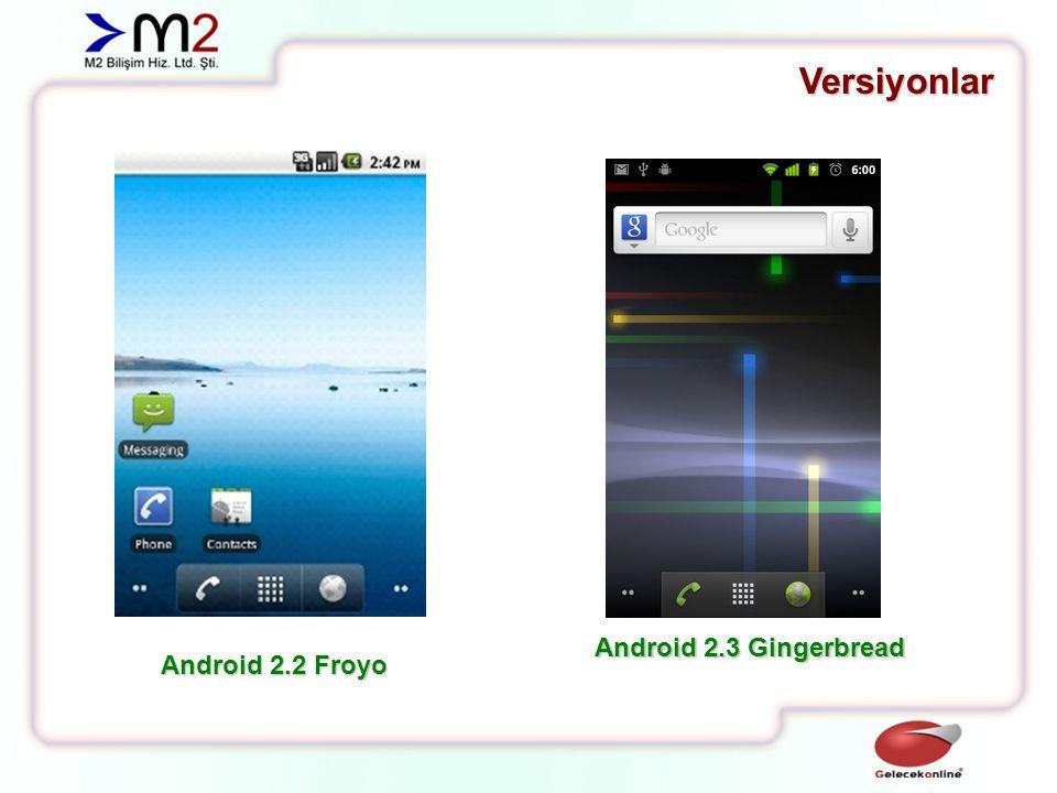 Versiyonlar Android 2.3 Gingerbread Android 2.2 Froyo