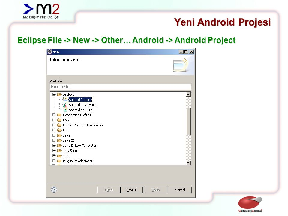 Yeni Android Projesi Eclipse File -> New -> Other… Android -> Android Project