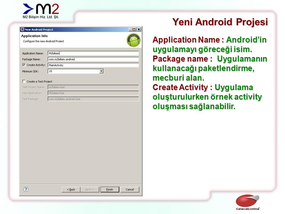 Yeni Android Projesi Application Name : Android'in uygulamayı göreceği isim. Package name : Uygulamanın kullanacağı paketlendirme, mecburi alan.