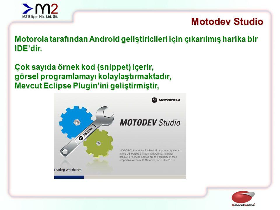 Motodev Studio Motorola tarafından Android geliştiricileri için çıkarılmış harika bir IDE'dir. Çok sayıda örnek kod (snippet) içerir,
