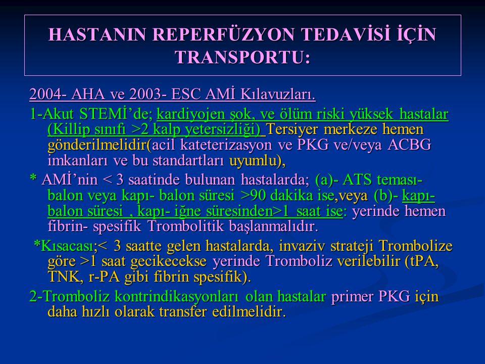 HASTANIN REPERFÜZYON TEDAVİSİ İÇİN TRANSPORTU: