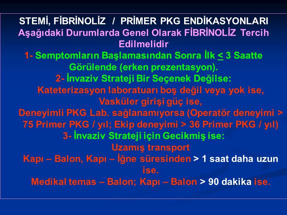 STEMİ, FİBRİNOLİZ / PRİMER PKG ENDİKASYONLARI