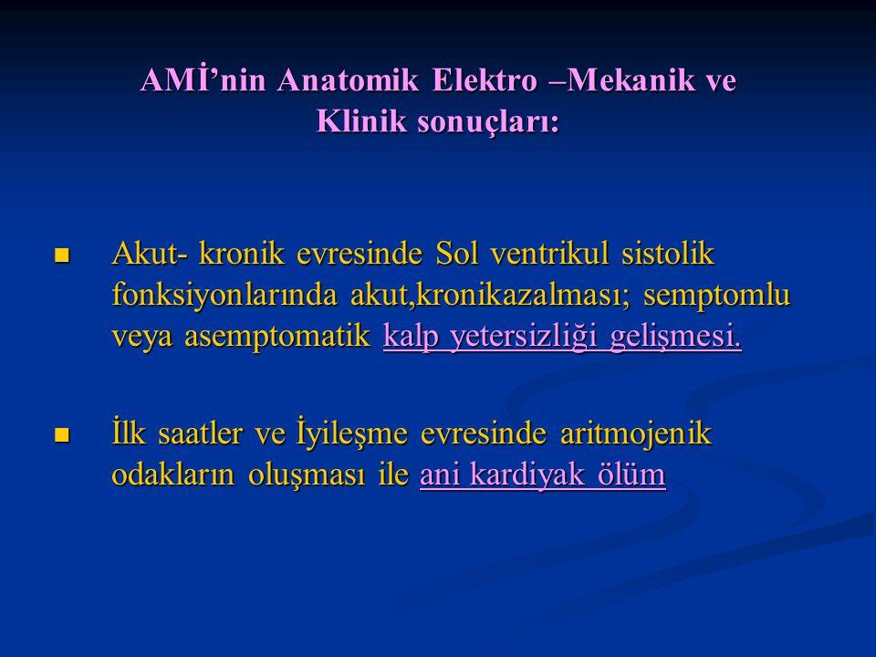 AMİ'nin Anatomik Elektro –Mekanik ve Klinik sonuçları: