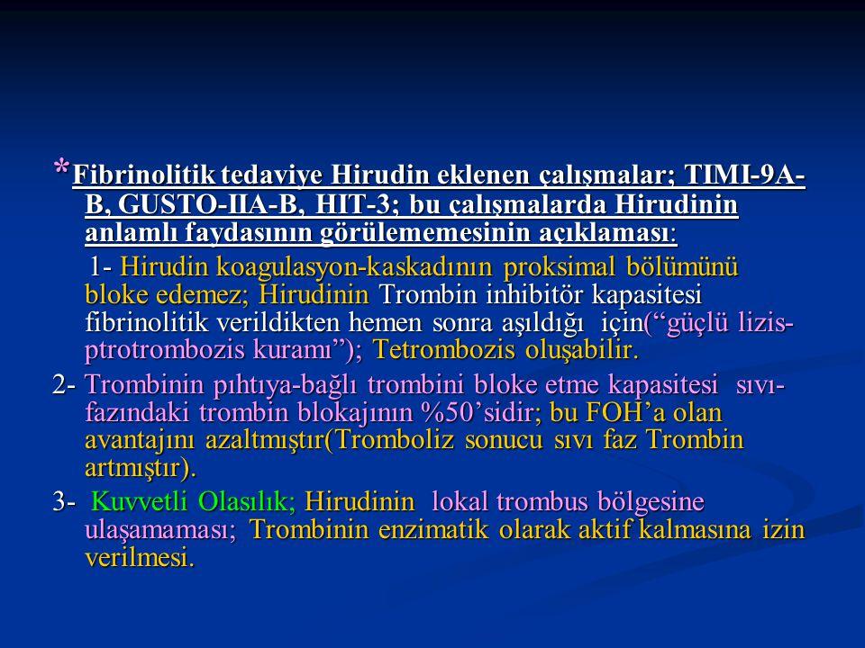 *Fibrinolitik tedaviye Hirudin eklenen çalışmalar; TIMI-9A-B, GUSTO-IIA-B, HIT-3; bu çalışmalarda Hirudinin anlamlı faydasının görülememesinin açıklaması: