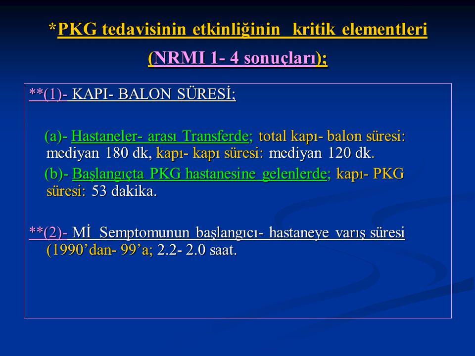 *PKG tedavisinin etkinliğinin kritik elementleri (NRMI 1- 4 sonuçları);