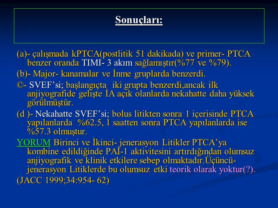Sonuçları: (a)- çalışmada kPTCA(postlitik 51 dakikada) ve primer- PTCA benzer oranda TIMI- 3 akım sağlamıştır(%77 ve %79).