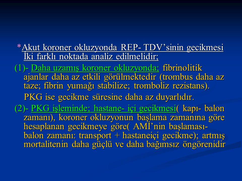 *Akut koroner okluzyonda REP- TDV'sinin gecikmesi İki farklı noktada analiz edilmelidir;