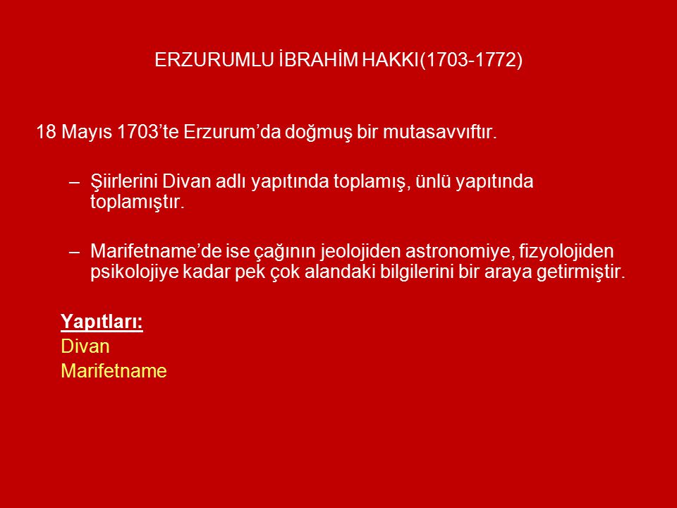 ERZURUMLU İBRAHİM HAKKI(1703-1772)