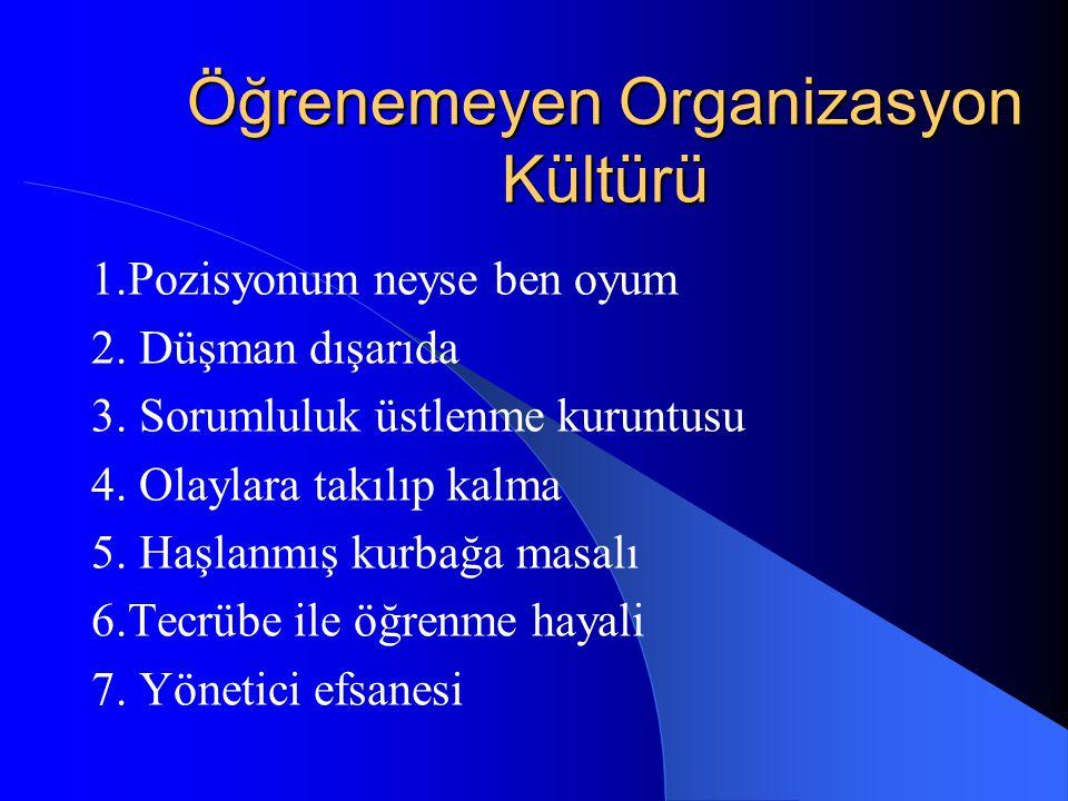 Öğrenemeyen Organizasyon Kültürü