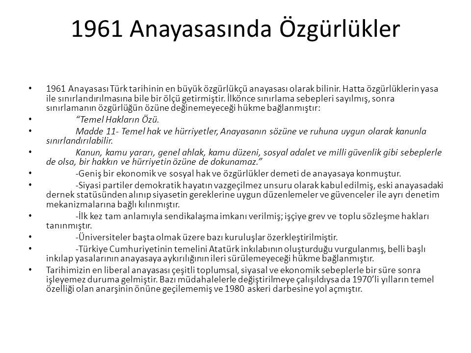 1961 Anayasasında Özgürlükler