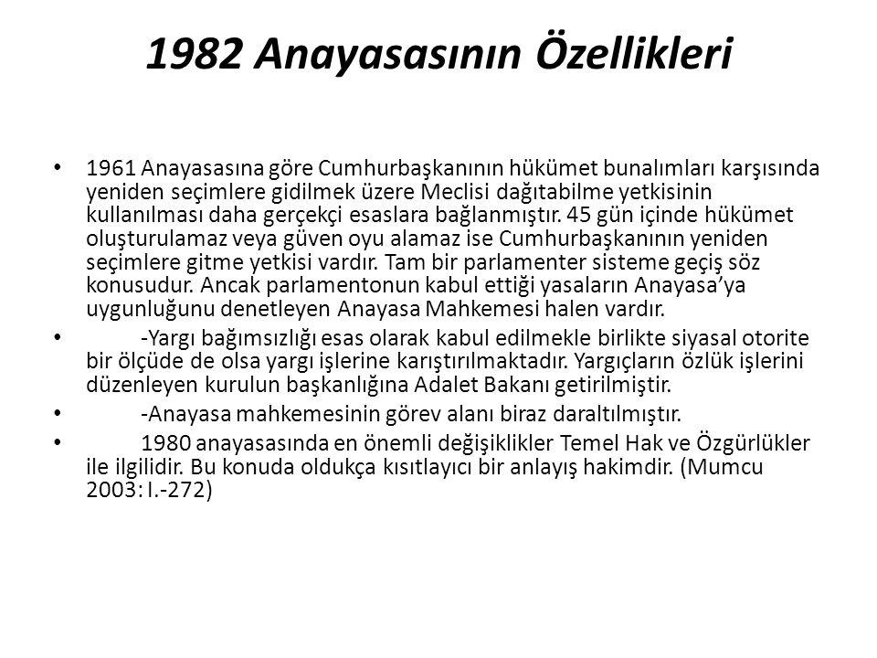 1982 Anayasasının Özellikleri