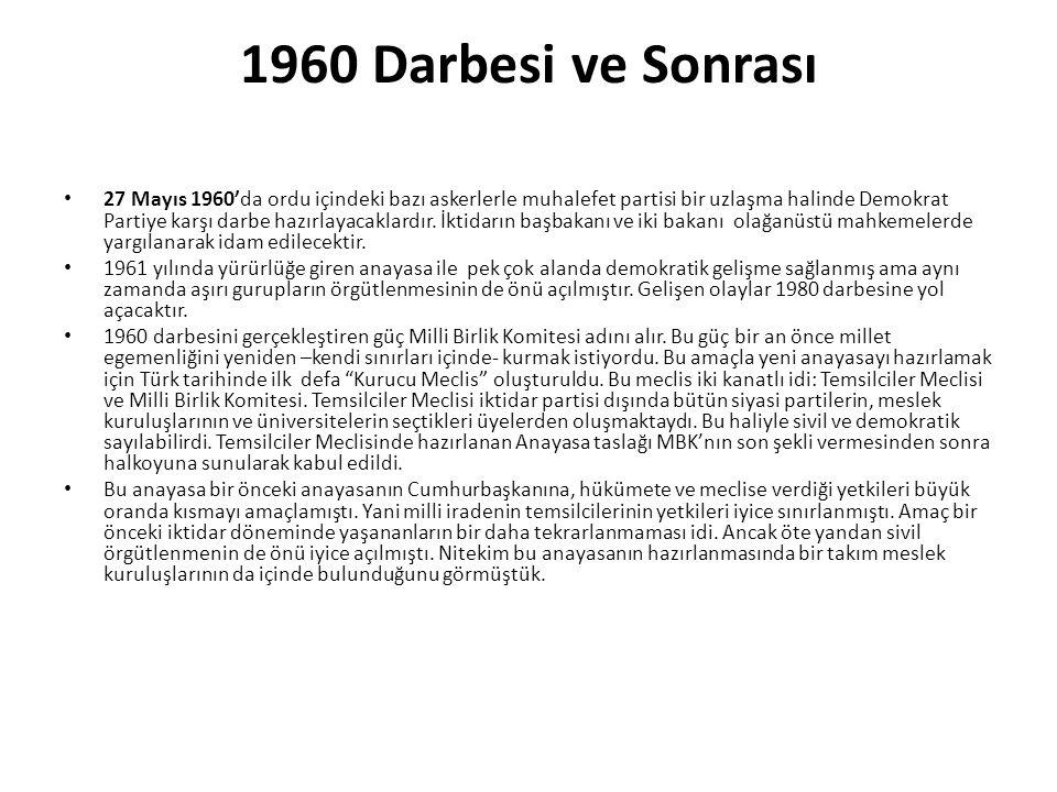 1960 Darbesi ve Sonrası