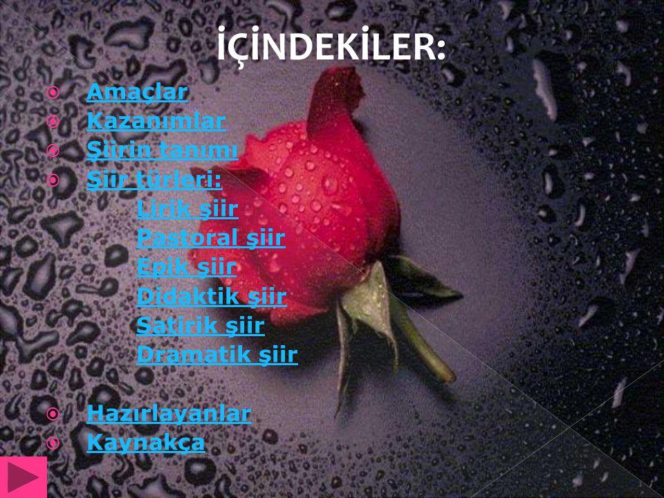 İÇİNDEKİLER: Amaçlar Kazanımlar Şiirin tanımı Şiir türleri: Lirik şiir