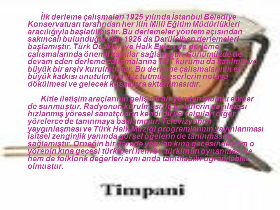 İlk derleme çalışmaları 1925 yılında İstanbul Belediye Konservatuarı tarafından her ilin Milli Eğitim Müdürlükleri aracılığıyla başlatılmıştır.