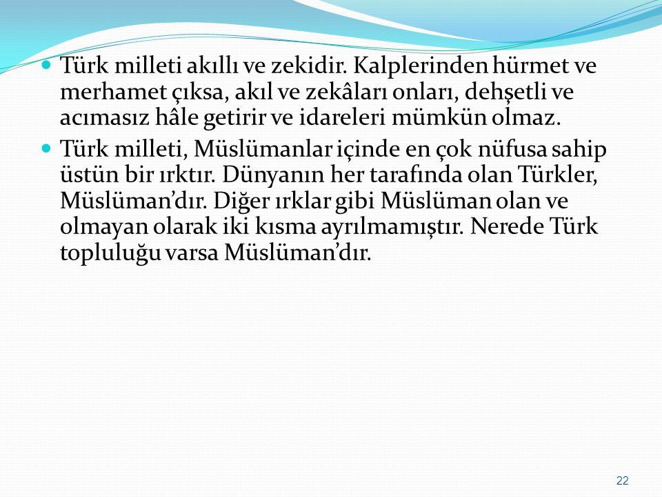 Türk milleti akıllı ve zekidir