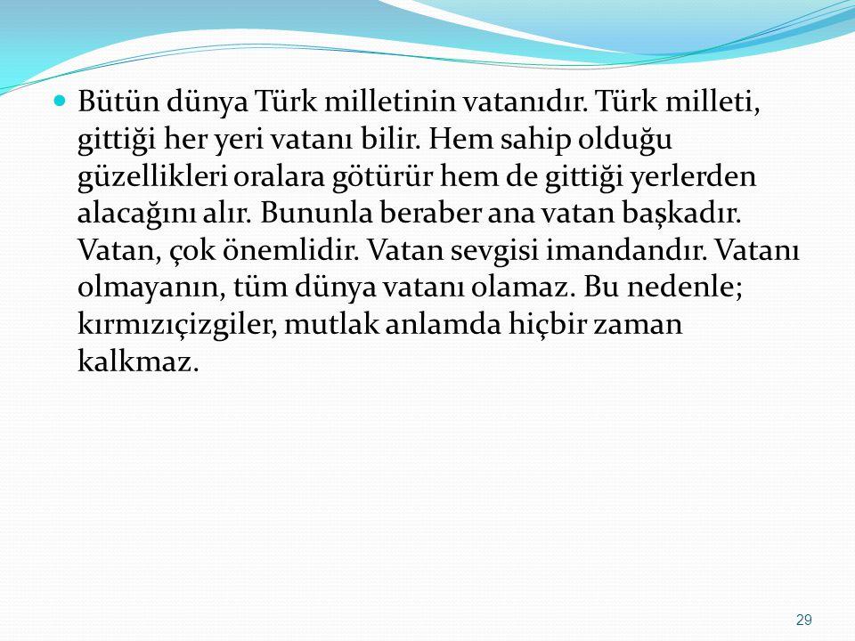 Bütün dünya Türk milletinin vatanıdır