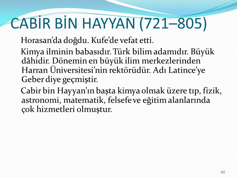CABİR BİN HAYYAN (721–805)