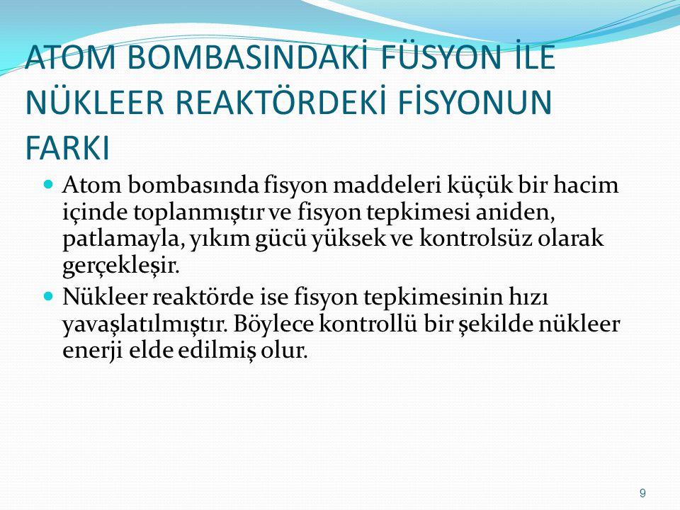 ATOM BOMBASINDAKİ FÜSYON İLE NÜKLEER REAKTÖRDEKİ FİSYONUN FARKI
