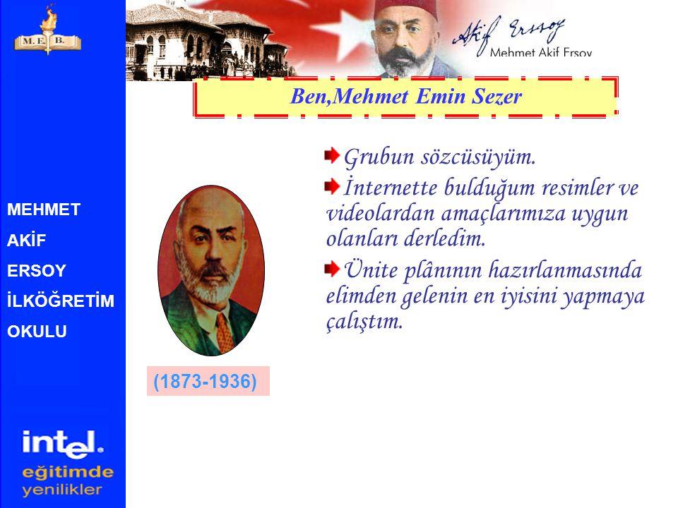 Ben,Mehmet Emin Sezer Grubun sözcüsüyüm. İnternette bulduğum resimler ve videolardan amaçlarımıza uygun olanları derledim.