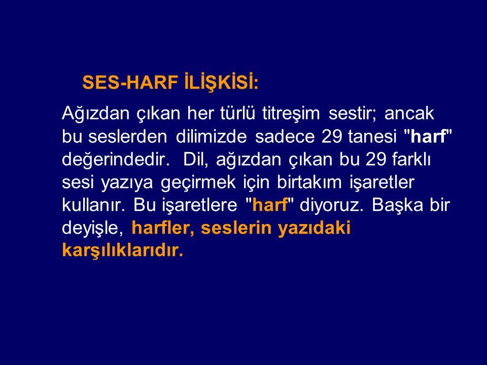 SES-HARF İLİŞKİSİ: