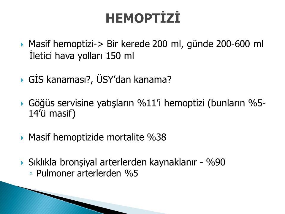 HEMOPTİZİ Masif hemoptizi-> Bir kerede 200 ml, günde 200-600 ml