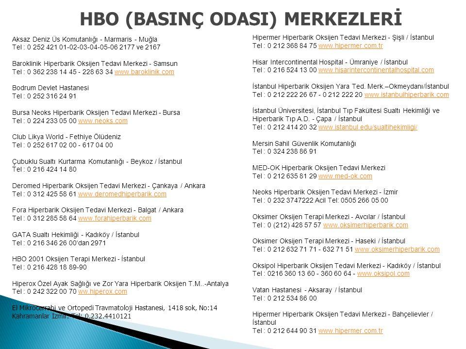 HBO (BASINÇ ODASI) MERKEZLERİ