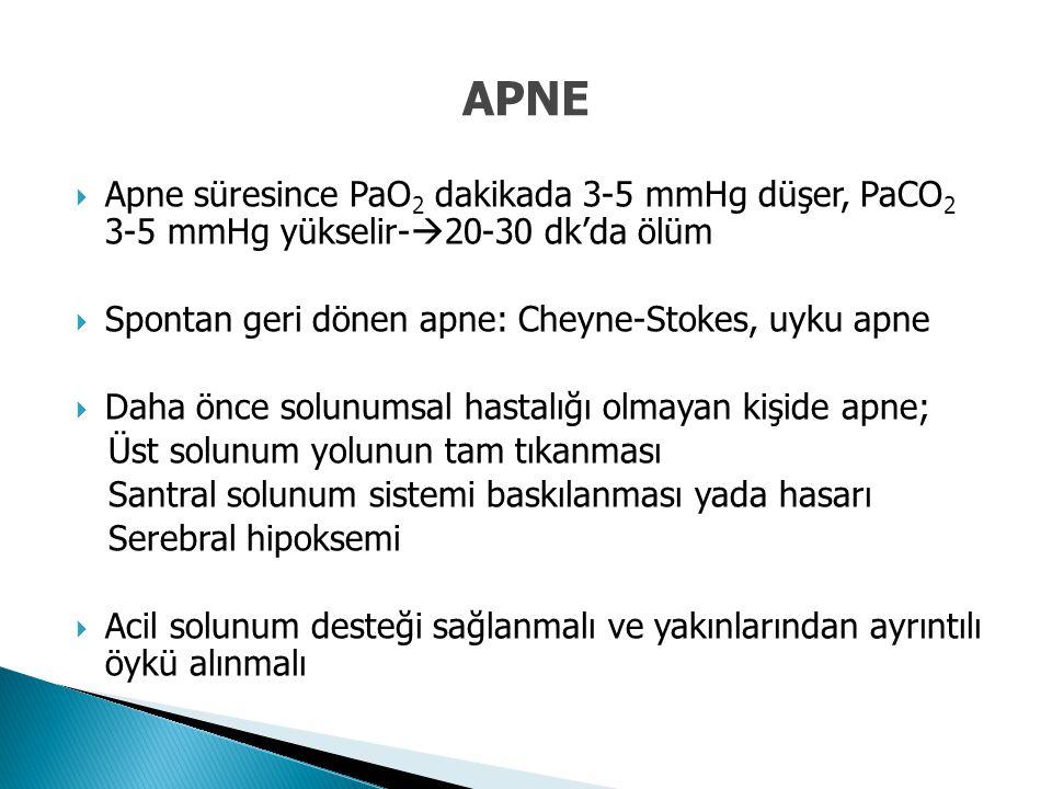 APNE Apne süresince PaO2 dakikada 3-5 mmHg düşer, PaCO2 3-5 mmHg yükselir-20-30 dk'da ölüm. Spontan geri dönen apne: Cheyne-Stokes, uyku apne.