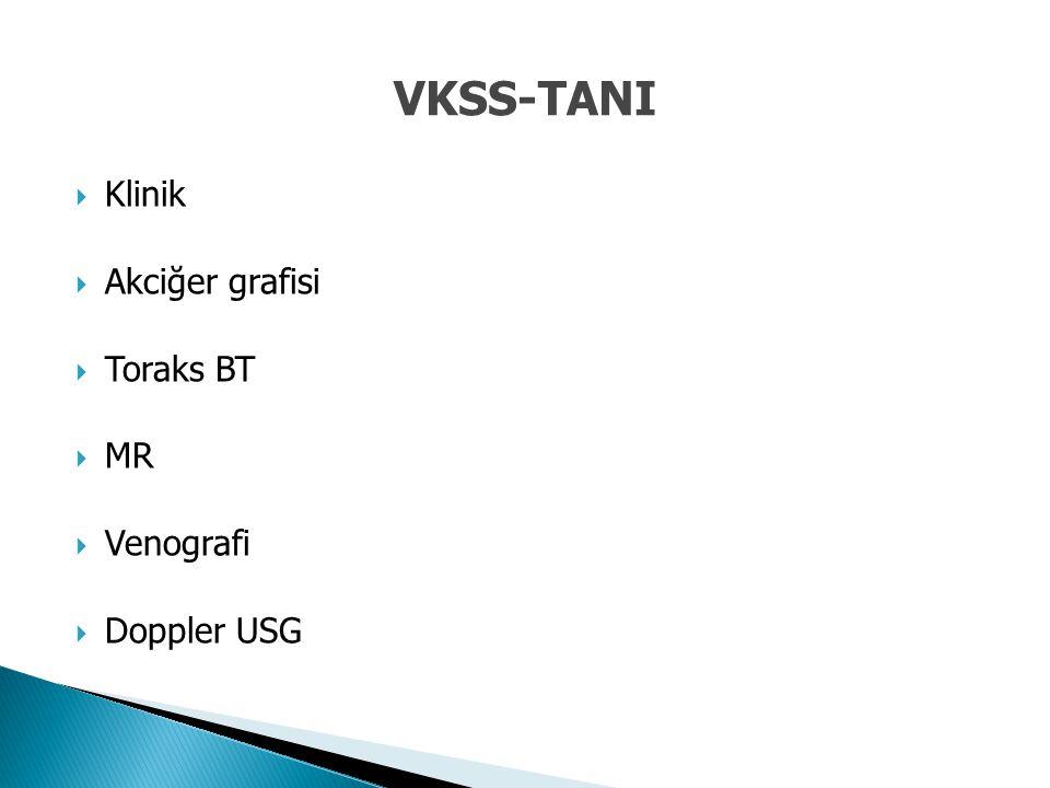 VKSS-TANI Klinik Akciğer grafisi Toraks BT MR Venografi Doppler USG