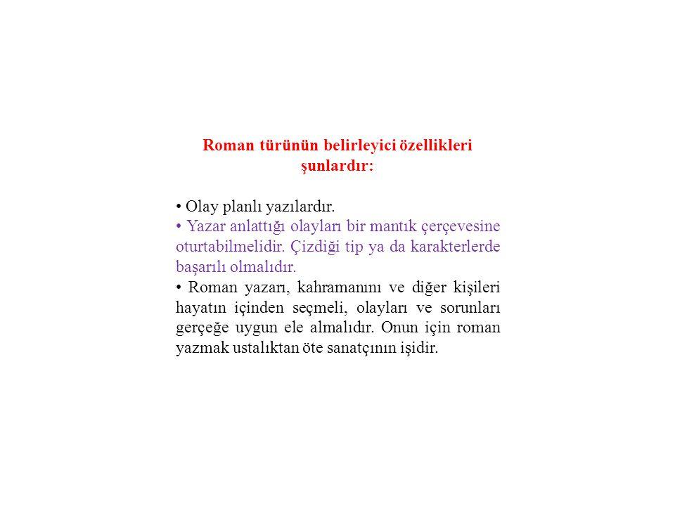 Roman türünün belirleyici özellikleri şunlardır: