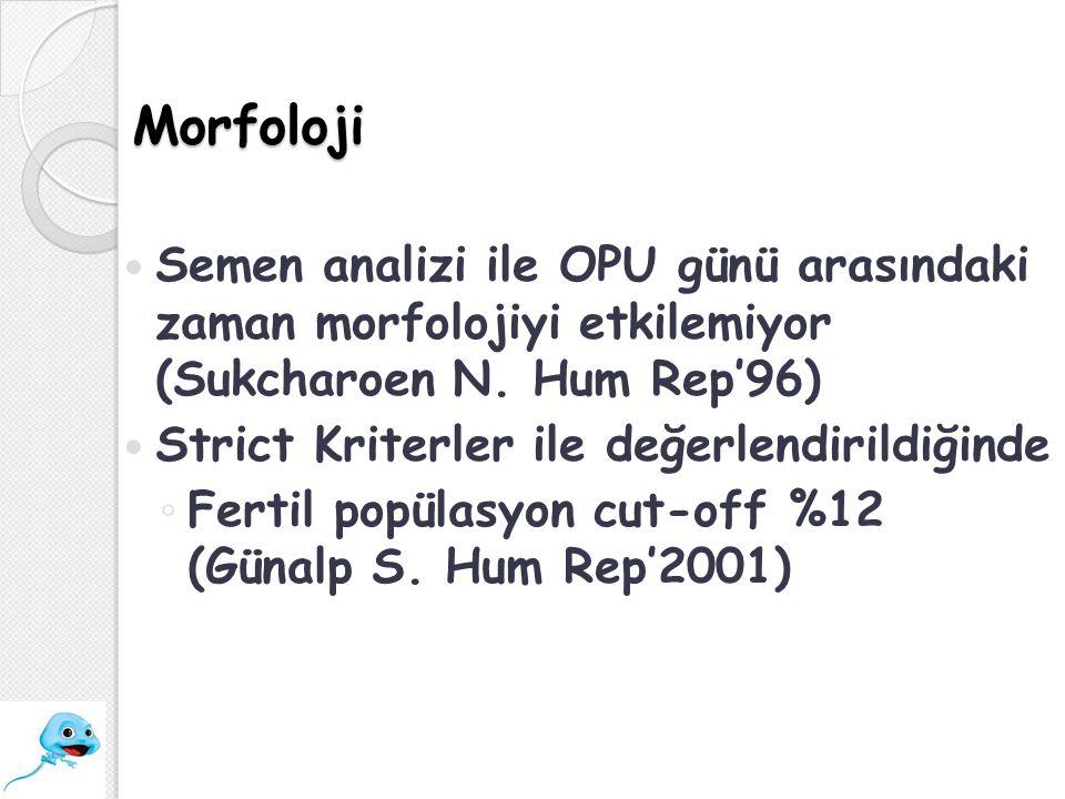 Morfoloji Semen analizi ile OPU günü arasındaki zaman morfolojiyi etkilemiyor (Sukcharoen N. Hum Rep'96)