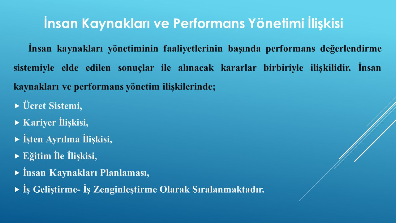 İnsan Kaynakları ve Performans Yönetimi İlişkisi