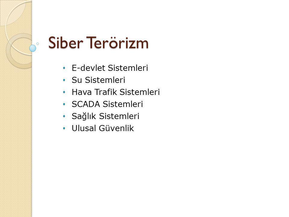 Siber Terörizm E-devlet Sistemleri Su Sistemleri