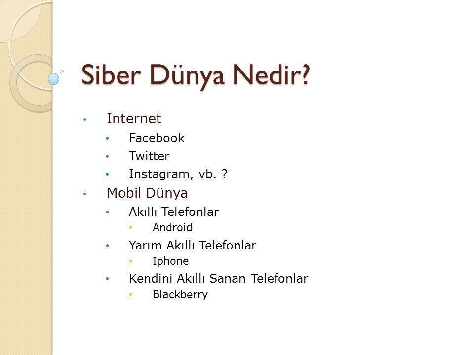 Siber Dünya Nedir Internet Mobil Dünya Facebook Twitter