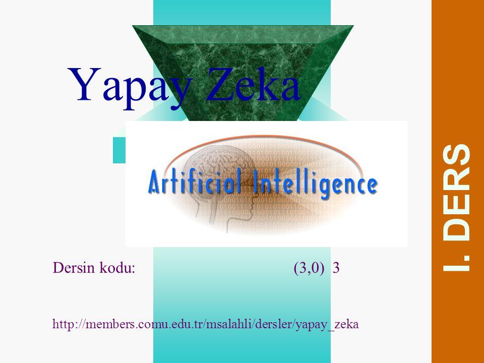 Yapay Zeka I. DERS Dersin kodu: (3,0) 3