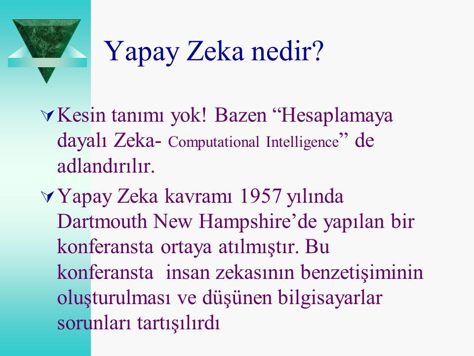 Yapay Zeka nedir Kesin tanımı yok! Bazen Hesaplamaya dayalı Zeka- Computational Intelligence de adlandırılır.