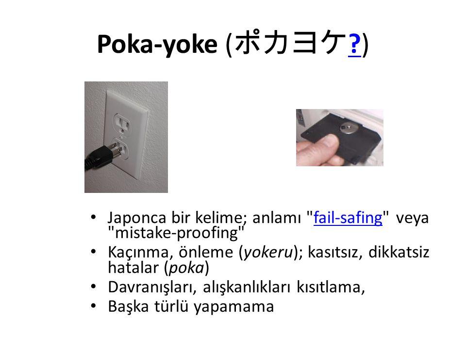 Poka-yoke (ポカヨケ ) Japonca bir kelime; anlamı fail-safing veya mistake-proofing Kaçınma, önleme (yokeru); kasıtsız, dikkatsiz hatalar (poka)