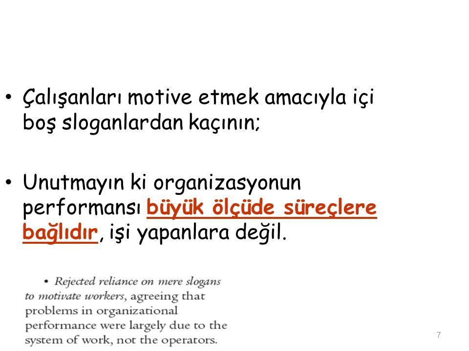 Çalışanları motive etmek amacıyla içi boş sloganlardan kaçının;