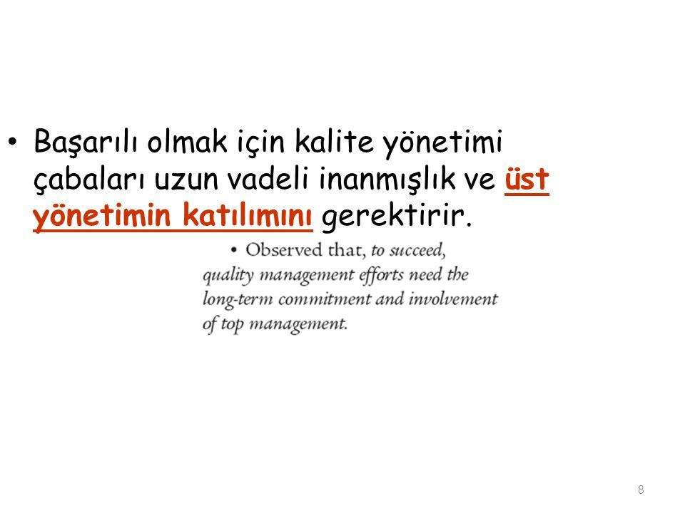 Başarılı olmak için kalite yönetimi çabaları uzun vadeli inanmışlık ve üst yönetimin katılımını gerektirir.