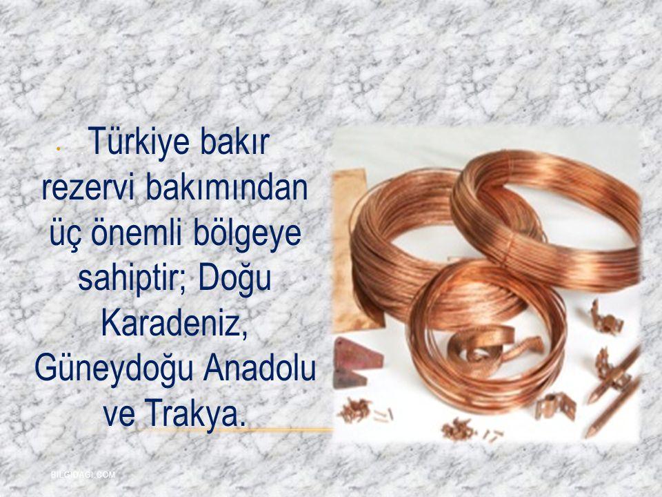 . Türkiye bakır rezervi bakımından üç önemli bölgeye sahiptir; Doğu Karadeniz, Güneydoğu Anadolu ve Trakya.