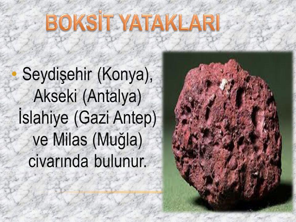 BOKSİT YATAKLARI Seydişehir (Konya), Akseki (Antalya) İslahiye (Gazi Antep) ve Milas (Muğla) civarında bulunur.