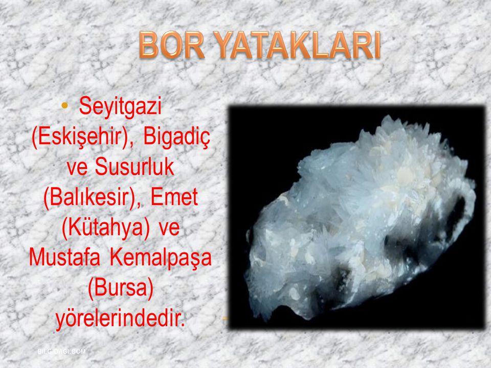 BOR YATAKLARI Seyitgazi (Eskişehir), Bigadiç ve Susurluk (Balıkesir), Emet (Kütahya) ve Mustafa Kemalpaşa (Bursa) yörelerindedir.