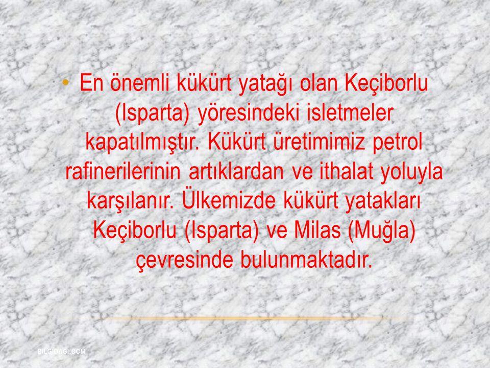 En önemli kükürt yatağı olan Keçiborlu (Isparta) yöresindeki isletmeler kapatılmıştır. Kükürt üretimimiz petrol rafinerilerinin artıklardan ve ithalat yoluyla karşılanır. Ülkemizde kükürt yatakları Keçiborlu (Isparta) ve Milas (Muğla) çevresinde bulunmaktadır.
