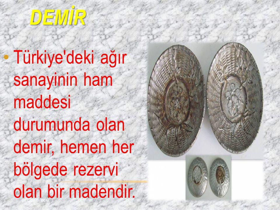 demİR Türkiye deki ağır sanayinin ham maddesi durumunda olan demir, hemen her bölgede rezervi olan bir madendir.