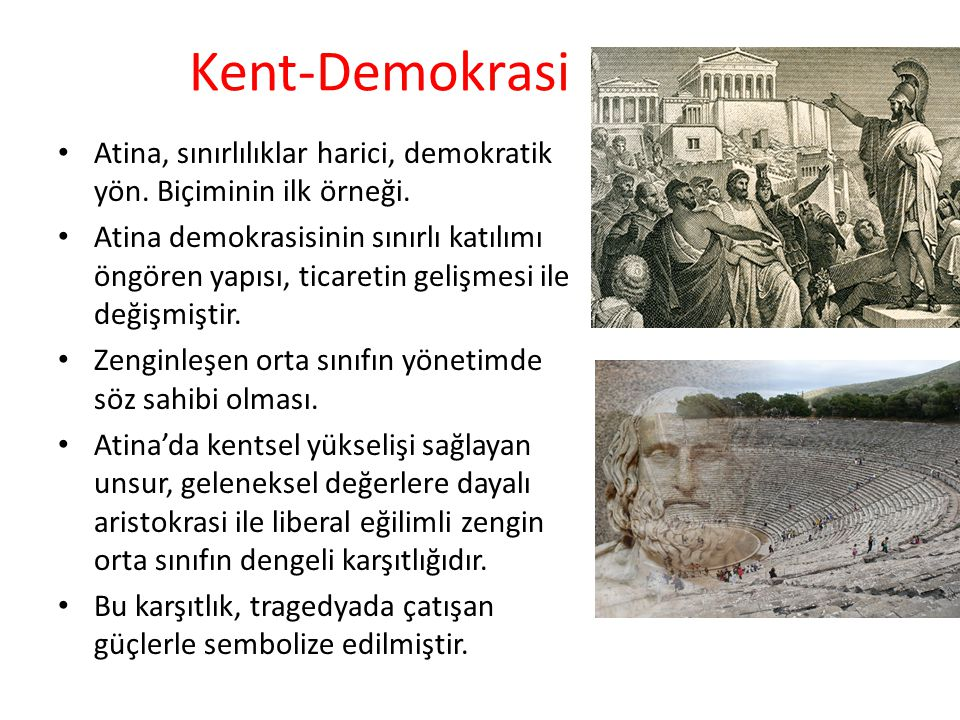 Kent-Demokrasi Atina, sınırlılıklar harici, demokratik yön. Biçiminin ilk örneği.